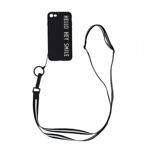 Design Letters Handyhülle mit Band Cover with Strap Iphone 7 & 8, black