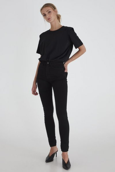 ICHI Paloma Flash High Waist Skinny Jeans, black schwarz