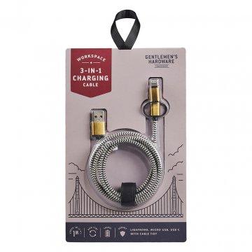 Gentlemens Hardware 3 in 1 Charging Cable Ladekabel