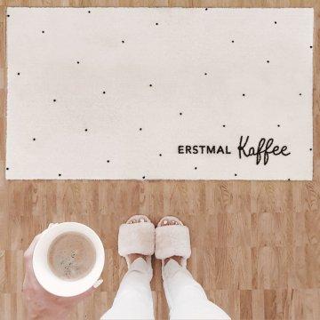 """Eulenschnitt Teppich grau """"Erstmal Kaffee"""",..."""