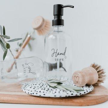 Eulenschnitt Glas-Spender Handseife 500 ml transparent schwarz