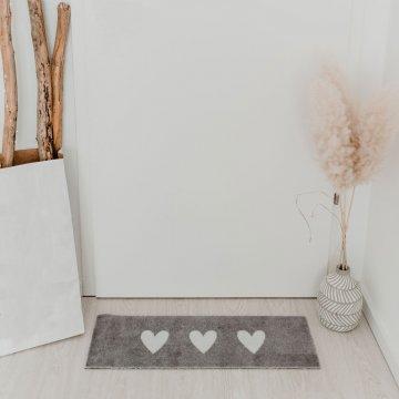 Eulenschnitt Fußmatte Herzen grau weiß 75x25...