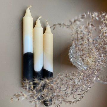 Dip Dye Kerze Stearin handgetaucht schwarz/beige