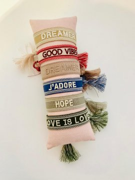 Ella Agency Armband Canvas Boho DREAMER verstellbar, dark...