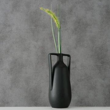 Vase Melax handgearbeitet H. 20 cm Steingut schwarz matt