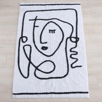 Bodenteppich Pica Mensch L. 180 cm B. 120 cm weiß -...