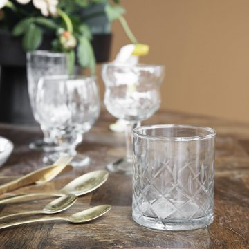 House Doctor  Whiskyglas mit Kreuzschliff H. 9 cm D. 8 cm