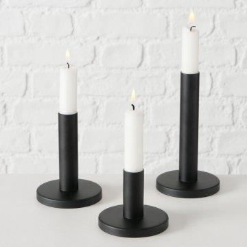 Kerzenhalter für Stabkerze 3 tlg. schwarz