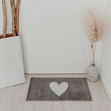 Eulenschnitt Fußmatte grau mit weißem Herz...