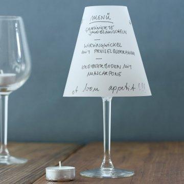 Reine Helene Faltenwurf zum Beschriften für Weinglas 3er Set, weiß